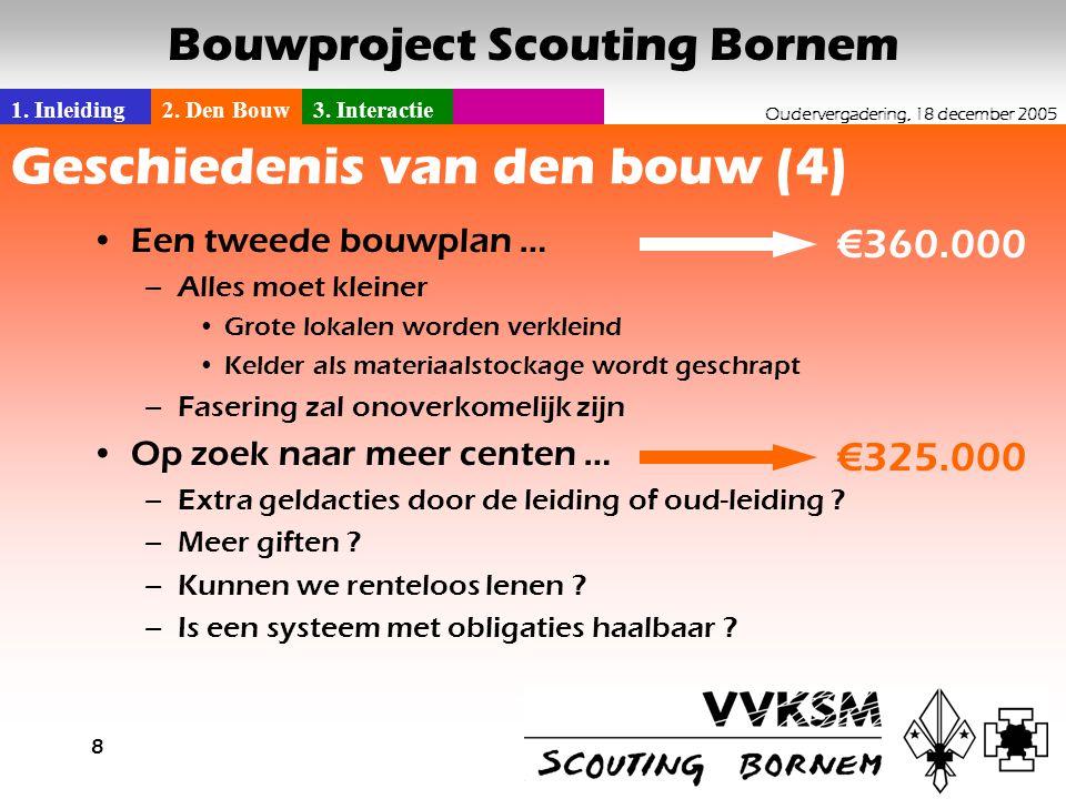 1. Inleiding2. Den Bouw3. Interactie Oudervergadering, 18 december 2005 Bouwproject Scouting Bornem 8 Geschiedenis van den bouw (4) •Een tweede bouwpl
