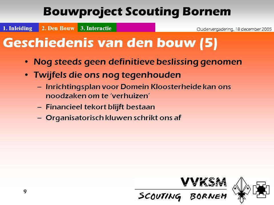 1. Inleiding2. Den Bouw3. Interactie Oudervergadering, 18 december 2005 Bouwproject Scouting Bornem 9 Geschiedenis van den bouw (5) •Nog steeds geen d