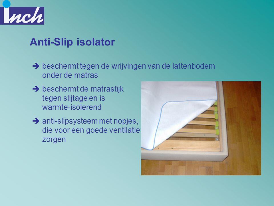 Anti-Slip isolator  beschermt tegen de wrijvingen van de lattenbodem onder de matras  beschermt de matrastijk tegen slijtage en is warmte-isolerend
