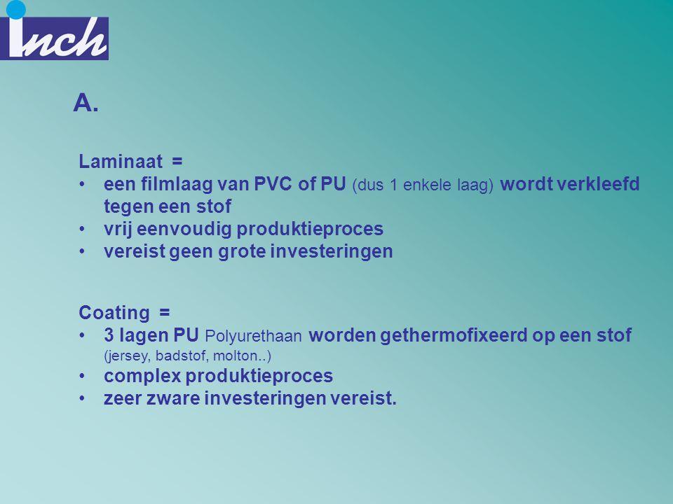 A. Laminaat = •een filmlaag van PVC of PU (dus 1 enkele laag) wordt verkleefd tegen een stof •vrij eenvoudig produktieproces •vereist geen grote inves