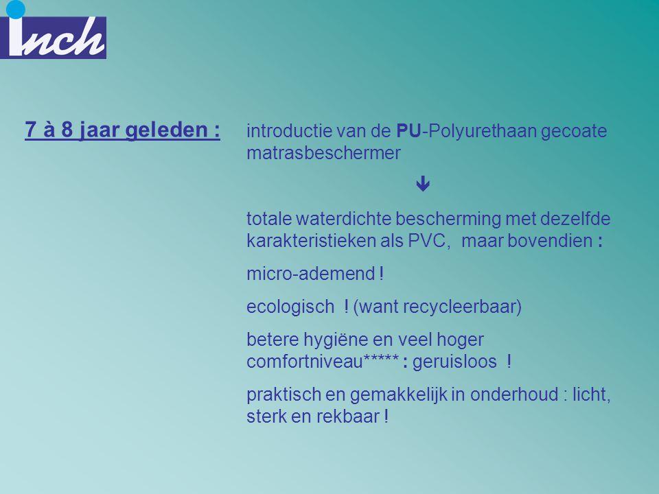 introductie van de PU-Polyurethaan gecoate matrasbeschermer  totale waterdichte bescherming met dezelfde karakteristieken als PVC, maar bovendien : m
