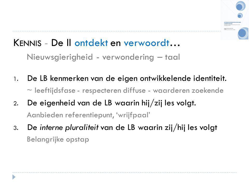 K ENNIS - De ll ontdekt en verwoordt… Nieuwsgierigheid - verwondering – taal 1. De LB kenmerken van de eigen ontwikkelende identiteit. ~ leeftijdsfase
