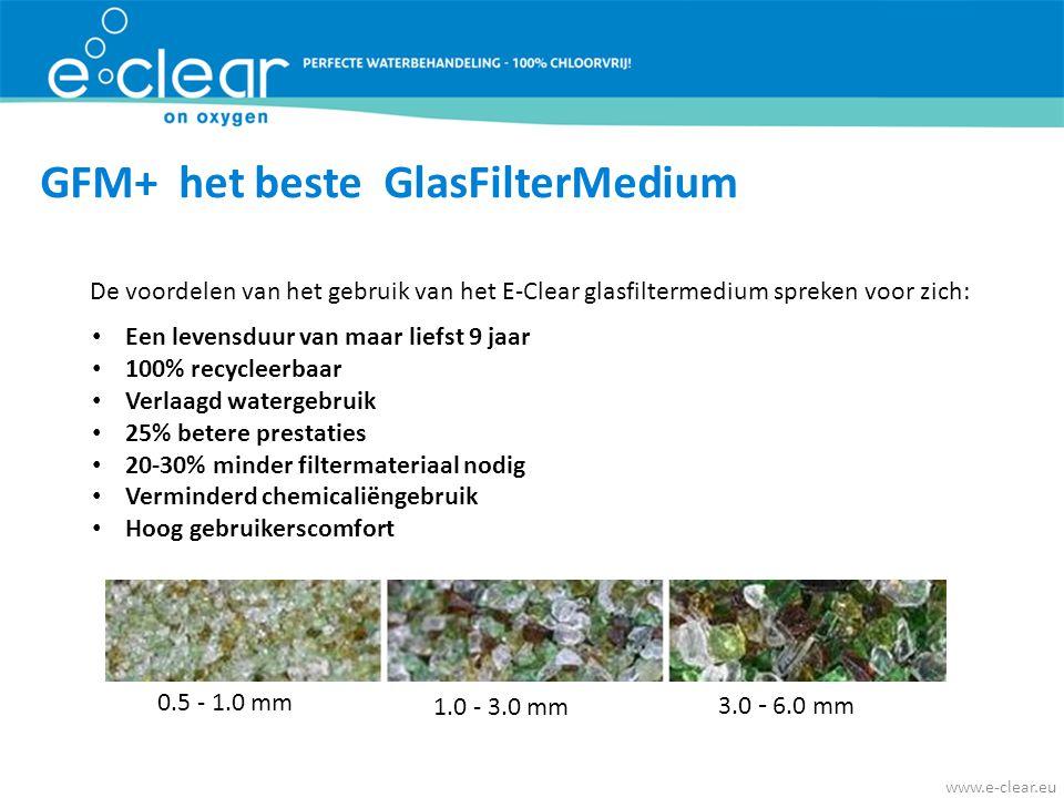 GFM+ het beste GlasFilterMedium De voordelen van het gebruik van het E-Clear glasfiltermedium spreken voor zich: • Een levensduur van maar liefst 9 ja