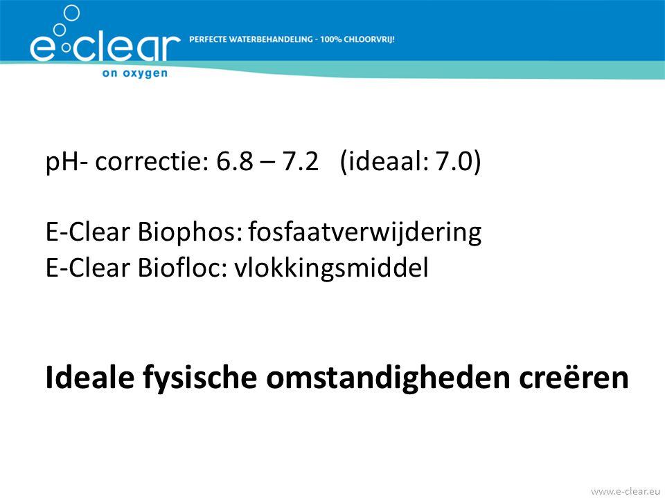 pH- correctie: 6.8 – 7.2 (ideaal: 7.0) E-Clear Biophos: fosfaatverwijdering E-Clear Biofloc: vlokkingsmiddel Ideale fysische omstandigheden creëren ww