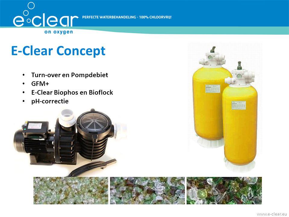 • Turn-over en Pompdebiet • GFM+ • E-Clear Biophos en Bioflock • pH-correctie E-Clear Concept www.e-clear.eu