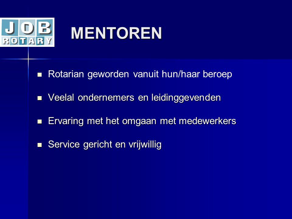 MENTOREN MENTOREN   Rotarian geworden vanuit hun/haar beroep  Veelal ondernemers en leidinggevenden  Ervaring met het omgaan met medewerkers  Ser