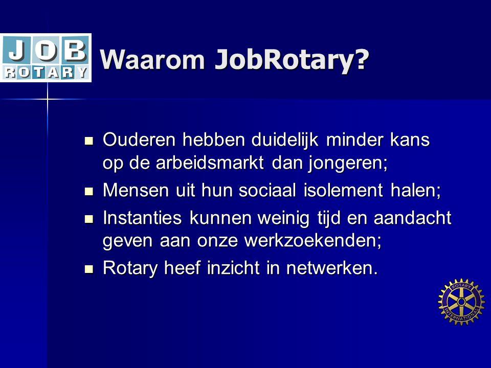 Waarom JobRotary?  Ouderen hebben duidelijk minder kans op de arbeidsmarkt dan jongeren;  Mensen uit hun sociaal isolement halen;  Instanties kunne