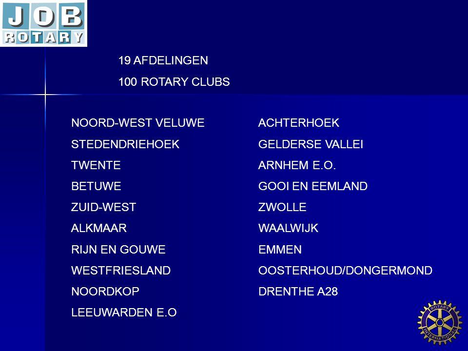 19 AFDELINGEN 100 ROTARY CLUBS NOORD-WEST VELUWEACHTERHOEK STEDENDRIEHOEKGELDERSE VALLEI TWENTEARNHEM E.O. BETUWEGOOI EN EEMLAND ZUID-WESTZWOLLE ALKMA