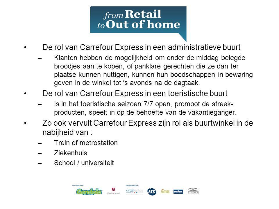 •De rol van Carrefour Express in een administratieve buurt –Klanten hebben de mogelijkheid om onder de middag belegde broodjes aan te kopen, of panklare gerechten die ze dan ter plaatse kunnen nuttigen, kunnen hun boodschappen in bewaring geven in de winkel tot 's avonds na de dagtaak.