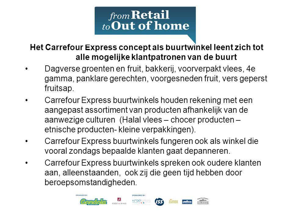 Het Carrefour Express concept als buurtwinkel leent zich tot alle mogelijke klantpatronen van de buurt •Dagverse groenten en fruit, bakkerij, voorverpakt vlees, 4e gamma, panklare gerechten, voorgesneden fruit, vers geperst fruitsap.