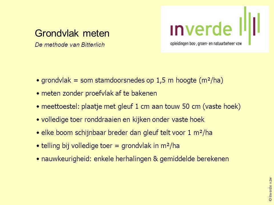 Grondvlak meten De methode van Bitterlich • grondvlak = som stamdoorsnedes op 1,5 m hoogte (m²/ha) • meten zonder proefvlak af te bakenen • meettoeste