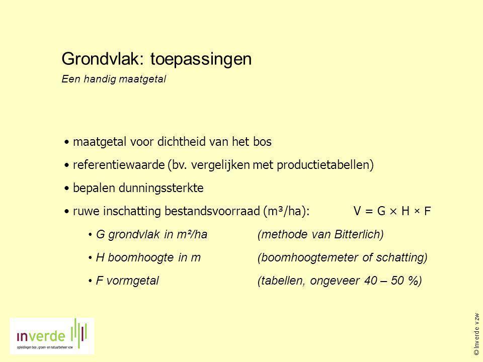 Grondvlak: toepassingen Een handig maatgetal • maatgetal voor dichtheid van het bos • referentiewaarde (bv. vergelijken met productietabellen) • bepal