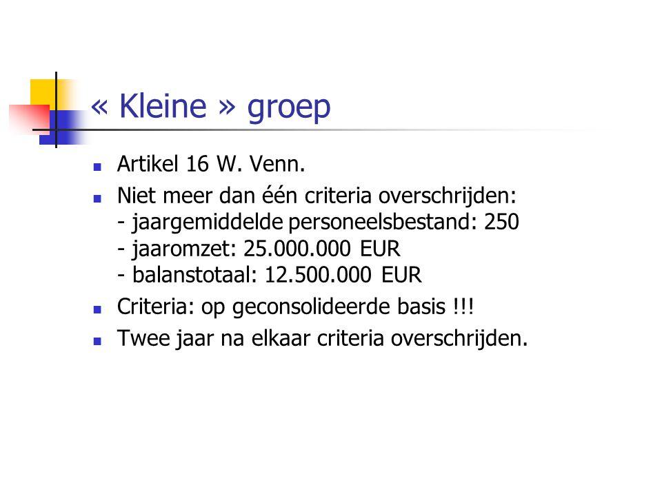 « Kleine » groep  Artikel 16 W.Venn.