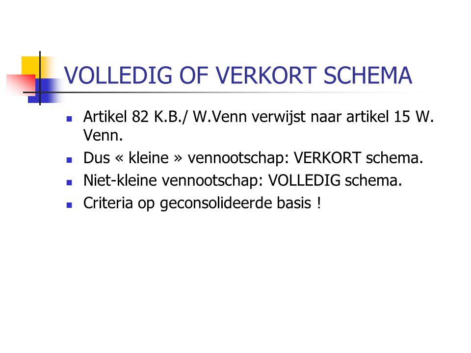 VOLLEDIG OF VERKORT SCHEMA  Artikel 82 K.B./ W.Venn verwijst naar artikel 15 W.
