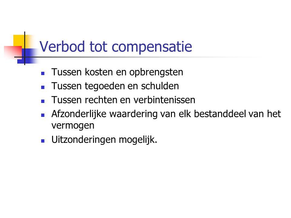 Verbod tot compensatie  Tussen kosten en opbrengsten  Tussen tegoeden en schulden  Tussen rechten en verbintenissen  Afzonderlijke waardering van elk bestanddeel van het vermogen  Uitzonderingen mogelijk.