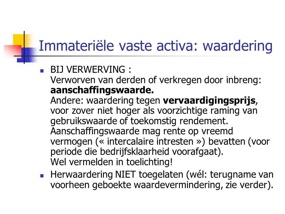 Immateriële vaste activa: waardering  BIJ VERWERVING : Verworven van derden of verkregen door inbreng: aanschaffingswaarde.