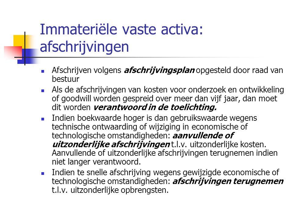 Immateriële vaste activa: afschrijvingen  Afschrijven volgens afschrijvingsplan opgesteld door raad van bestuur  Als de afschrijvingen van kosten voor onderzoek en ontwikkeling of goodwill worden gespreid over meer dan vijf jaar, dan moet dit worden verantwoord in de toelichting.