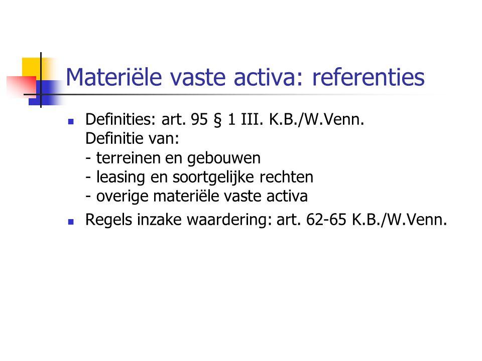Materiële vaste activa: referenties  Definities: art.