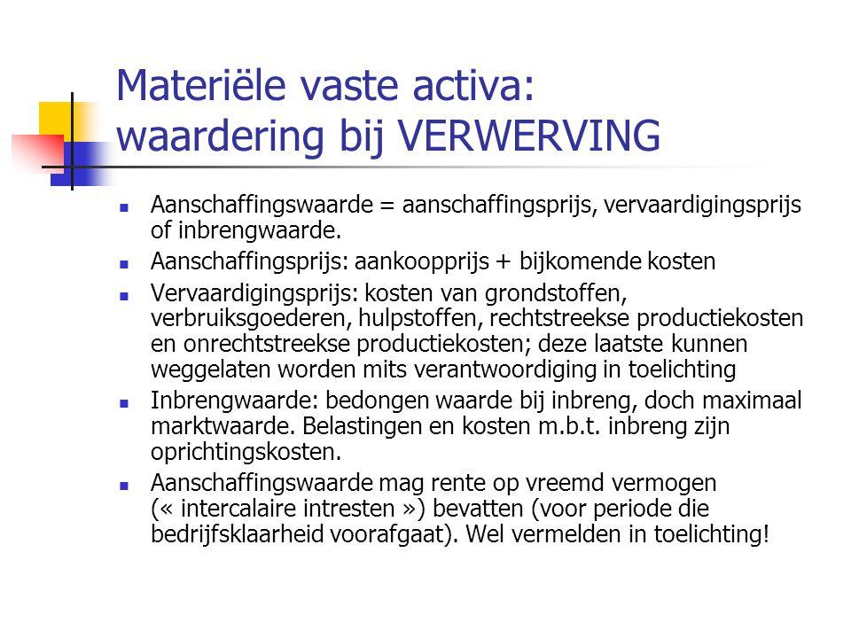Materiële vaste activa: waardering bij VERWERVING  Aanschaffingswaarde = aanschaffingsprijs, vervaardigingsprijs of inbrengwaarde.
