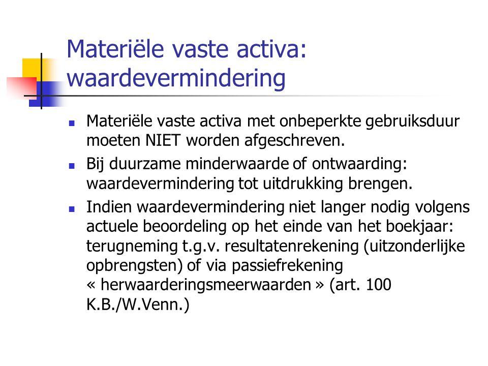 Materiële vaste activa: waardevermindering  Materiële vaste activa met onbeperkte gebruiksduur moeten NIET worden afgeschreven.
