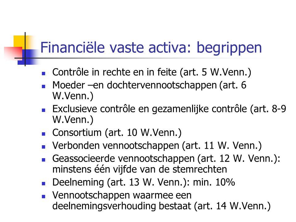 Financiële vaste activa: begrippen  Contrôle in rechte en in feite (art.