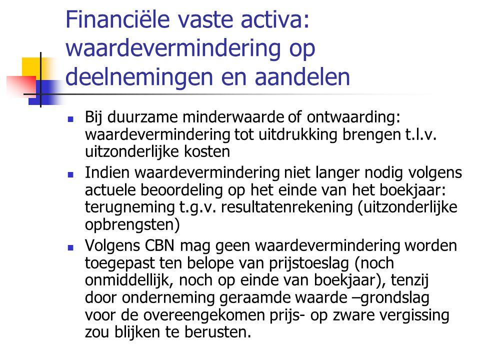 Financiële vaste activa: waardevermindering op deelnemingen en aandelen  Bij duurzame minderwaarde of ontwaarding: waardevermindering tot uitdrukking brengen t.l.v.