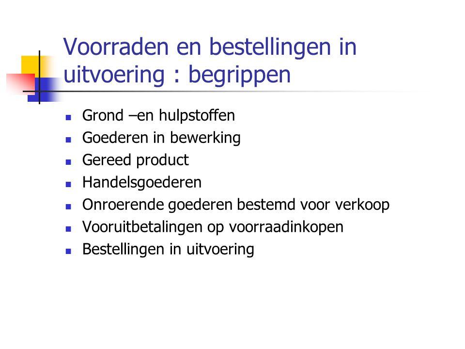 Voorraden en bestellingen in uitvoering : begrippen  Grond –en hulpstoffen  Goederen in bewerking  Gereed product  Handelsgoederen  Onroerende goederen bestemd voor verkoop  Vooruitbetalingen op voorraadinkopen  Bestellingen in uitvoering