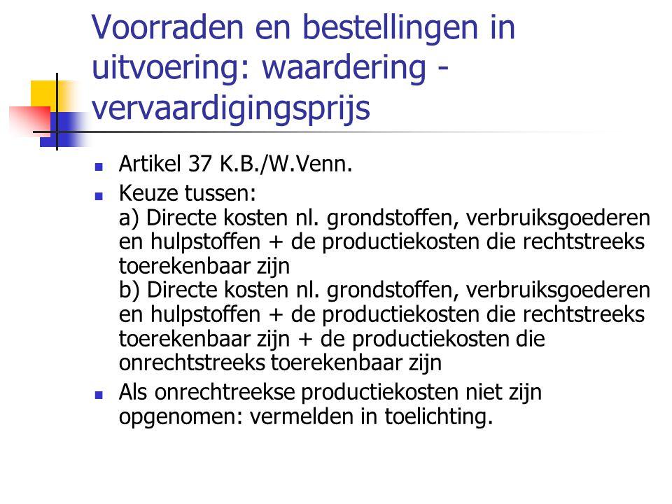 Voorraden en bestellingen in uitvoering: waardering - vervaardigingsprijs  Artikel 37 K.B./W.Venn.