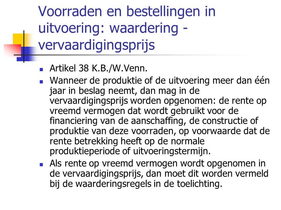 Voorraden en bestellingen in uitvoering: waardering - vervaardigingsprijs  Artikel 38 K.B./W.Venn.