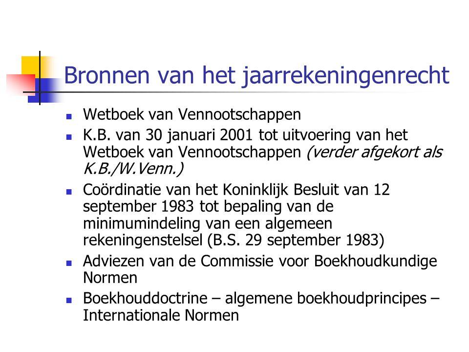 Bronnen van het jaarrekeningenrecht  Wetboek van Vennootschappen  K.B.