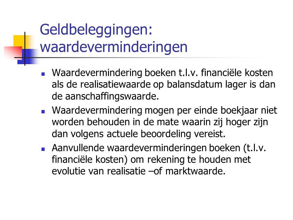 Geldbeleggingen: waardeverminderingen  Waardevermindering boeken t.l.v.