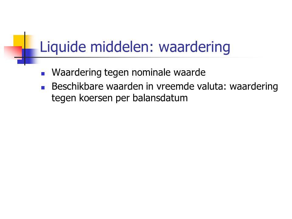 Liquide middelen: waardering  Waardering tegen nominale waarde  Beschikbare waarden in vreemde valuta: waardering tegen koersen per balansdatum