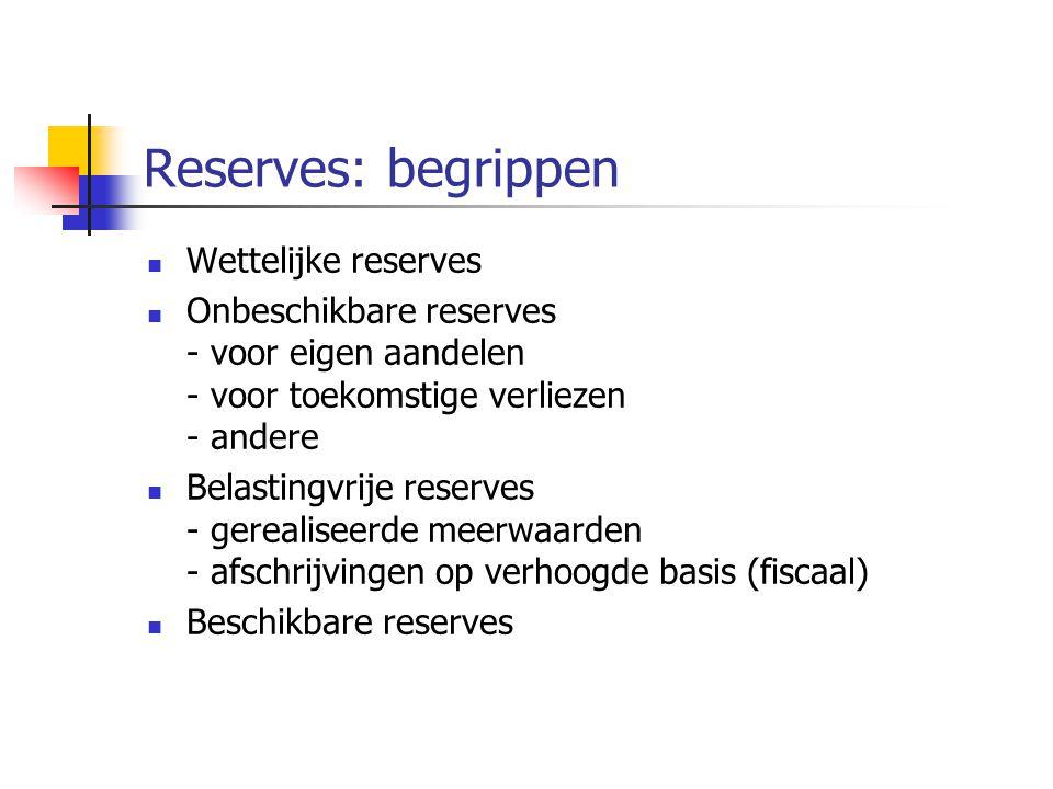 Reserves: begrippen  Wettelijke reserves  Onbeschikbare reserves - voor eigen aandelen - voor toekomstige verliezen - andere  Belastingvrije reserves - gerealiseerde meerwaarden - afschrijvingen op verhoogde basis (fiscaal)  Beschikbare reserves