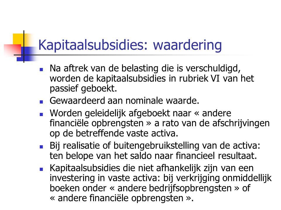 Kapitaalsubsidies: waardering  Na aftrek van de belasting die is verschuldigd, worden de kapitaalsubsidies in rubriek VI van het passief geboekt.