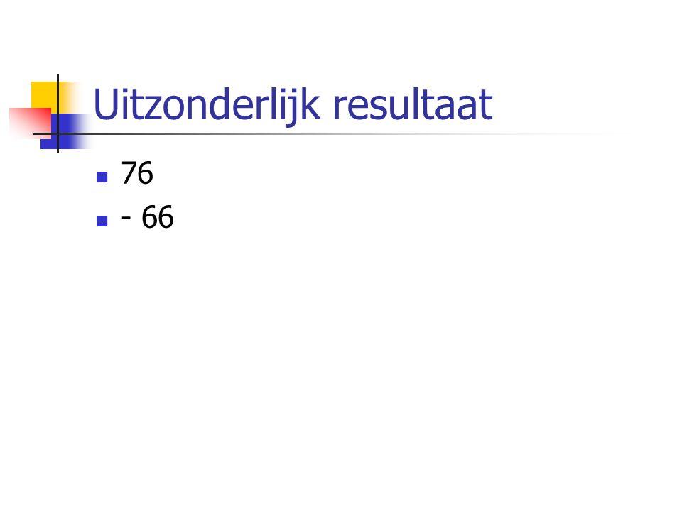 Uitzonderlijk resultaat  76  - 66