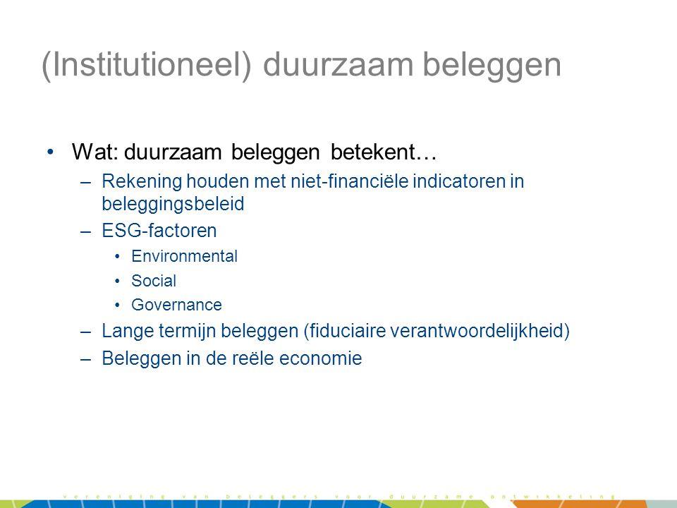 (Institutioneel) duurzaam beleggen •Wat: duurzaam beleggen betekent… –Rekening houden met niet-financiële indicatoren in beleggingsbeleid –ESG-factore