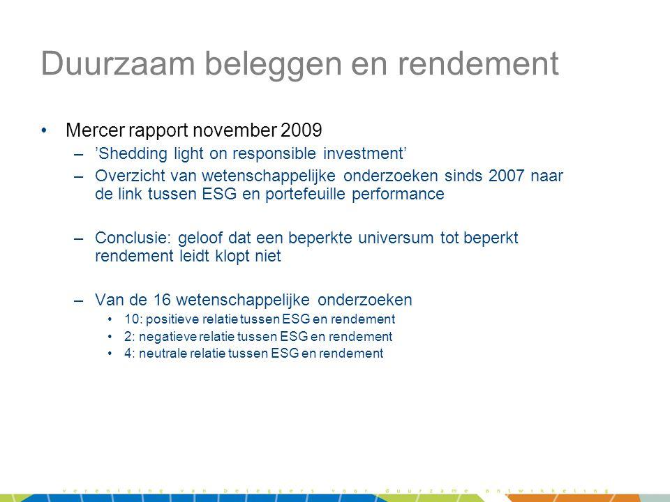 Duurzaam beleggen en rendement •Mercer rapport november 2009 –'Shedding light on responsible investment' –Overzicht van wetenschappelijke onderzoeken