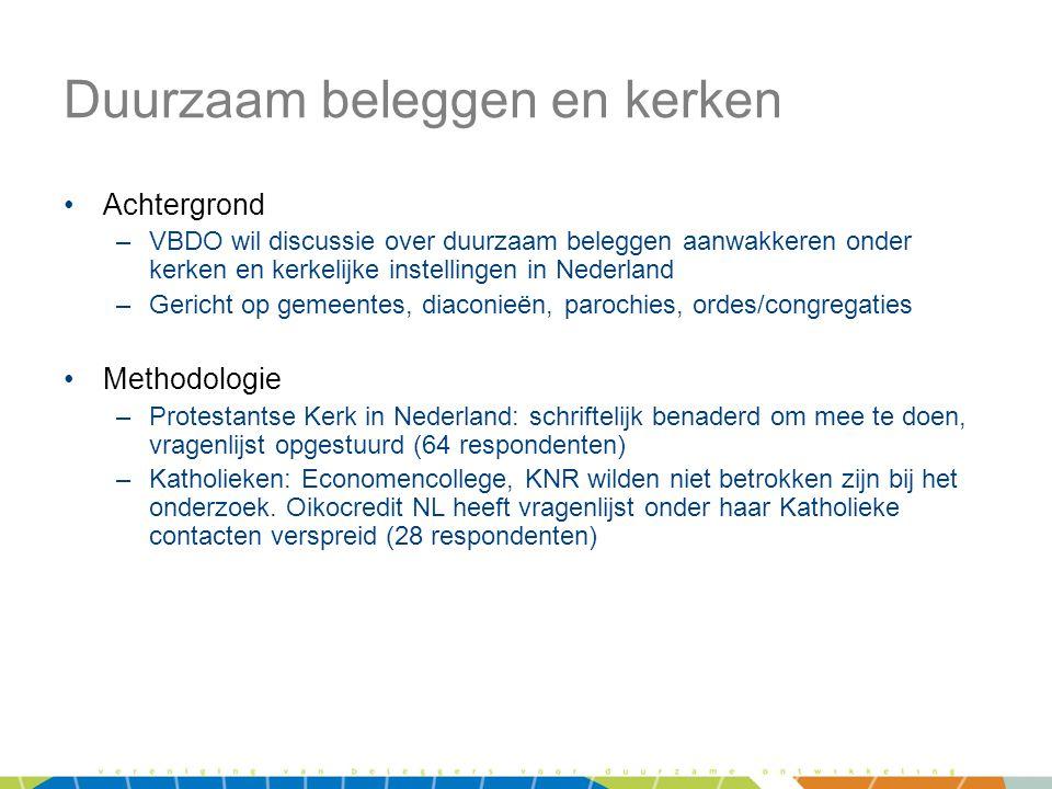 Duurzaam beleggen en kerken •Achtergrond –VBDO wil discussie over duurzaam beleggen aanwakkeren onder kerken en kerkelijke instellingen in Nederland –