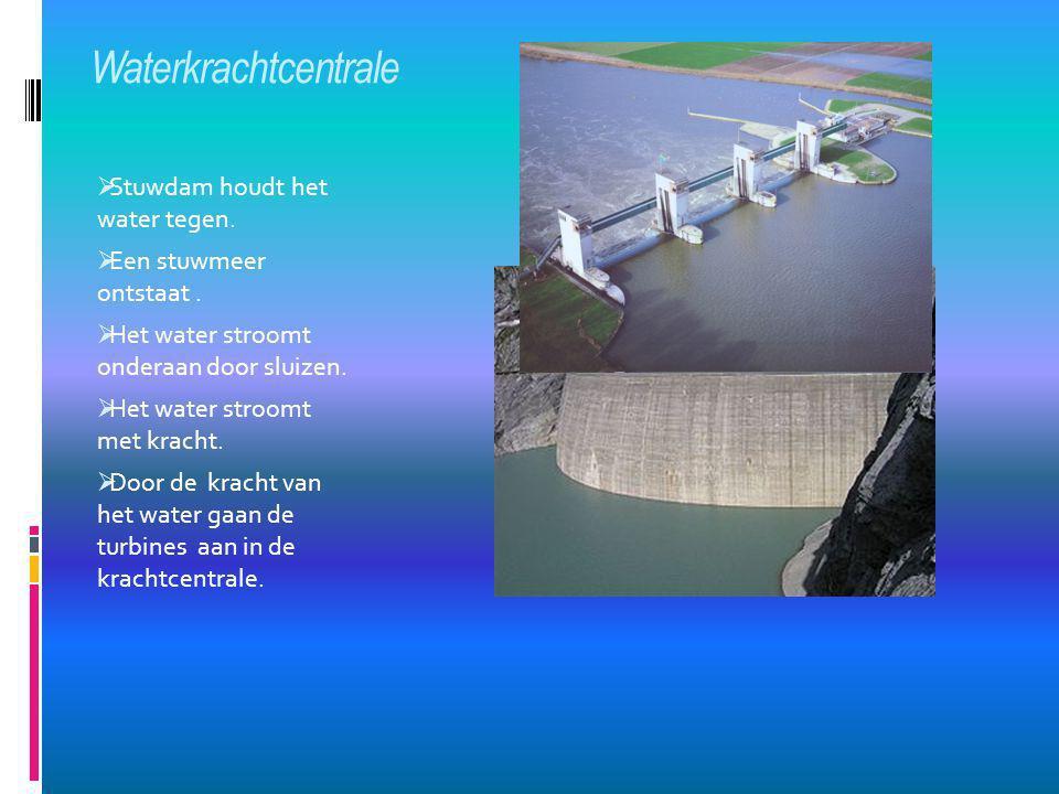 Waterkrachtcentrale  Stuwdam houdt het water tegen.