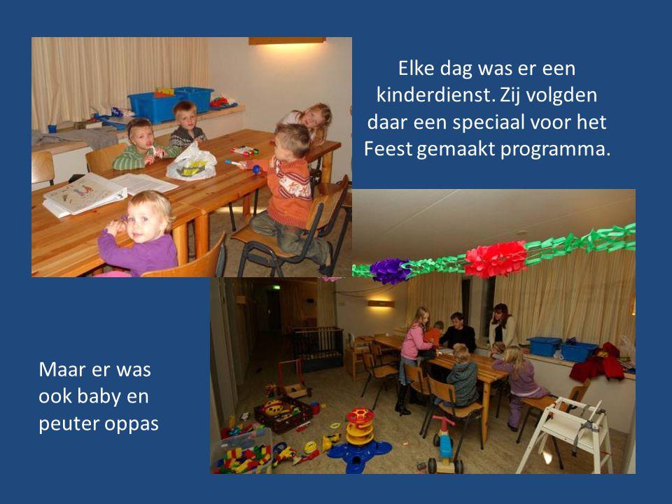 Elke dag was er een kinderdienst. Zij volgden daar een speciaal voor het Feest gemaakt programma. Maar er was ook baby en peuter oppas