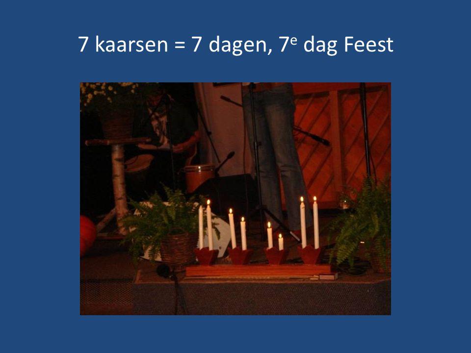 7 kaarsen = 7 dagen, 7 e dag Feest