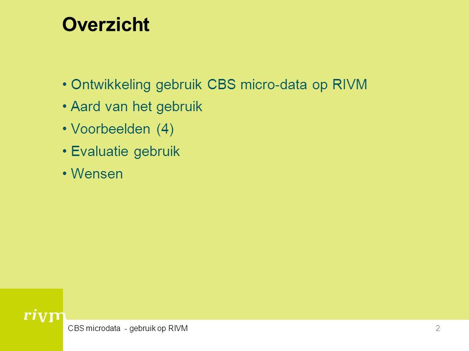 CBS microdata - gebruik op RIVM2 Overzicht •Ontwikkeling gebruik CBS micro-data op RIVM •Aard van het gebruik •Voorbeelden (4) •Evaluatie gebruik •Wen
