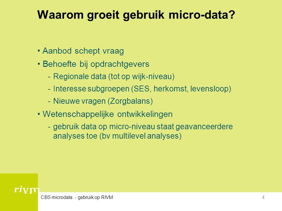 CBS microdata - gebruik op RIVM4 Waarom groeit gebruik micro-data? •Aanbod schept vraag •Behoefte bij opdrachtgevers -Regionale data (tot op wijk-nive