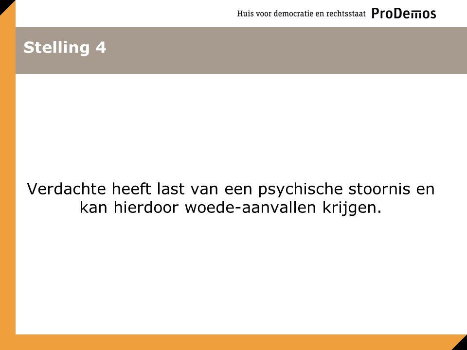 Stelling 4 Verdachte heeft last van een psychische stoornis en kan hierdoor woede-aanvallen krijgen.
