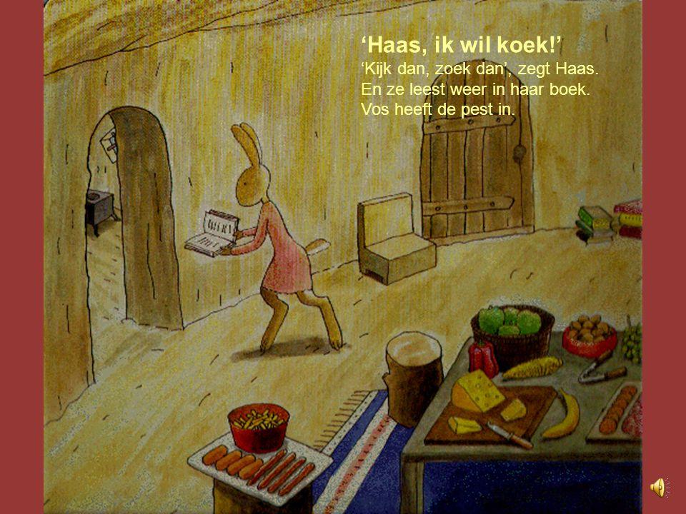 'Haas, ik wil koek!' 'Kijk dan, zoek dan', zegt Haas.