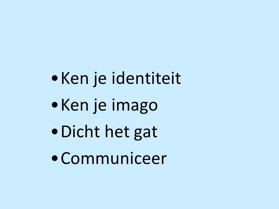 •Ken je identiteit •Ken je imago •Dicht het gat •Communiceer