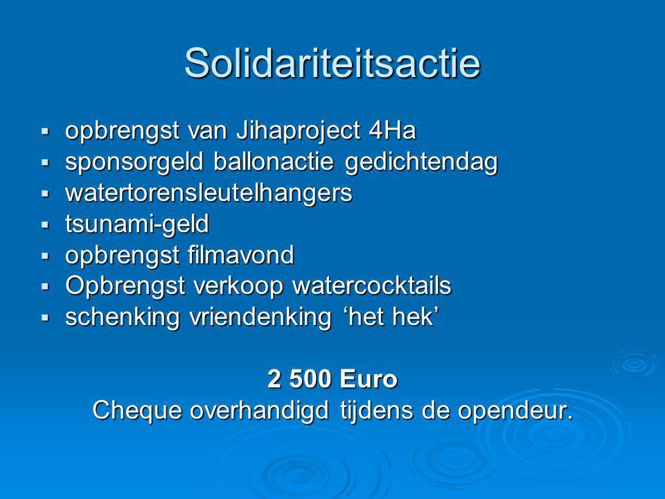 Solidariteitsactie  opbrengst van Jihaproject 4Ha  sponsorgeld ballonactie gedichtendag  watertorensleutelhangers  tsunami-geld  opbrengst filmav