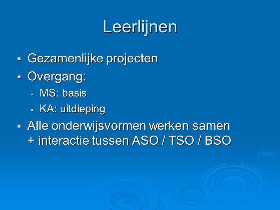Leerlijnen  Gezamenlijke projecten  Overgang:  MS: basis  KA: uitdieping  Alle onderwijsvormen werken samen + interactie tussen ASO / TSO / BSO