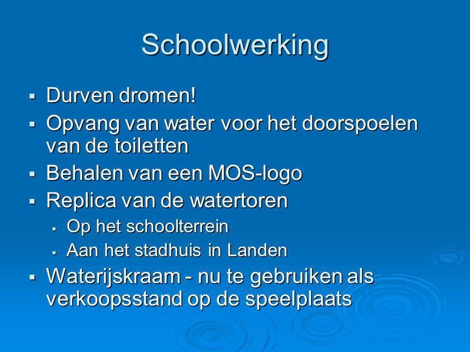 Schoolwerking  Durven dromen!  Opvang van water voor het doorspoelen van de toiletten  Behalen van een MOS-logo  Replica van de watertoren  Op he