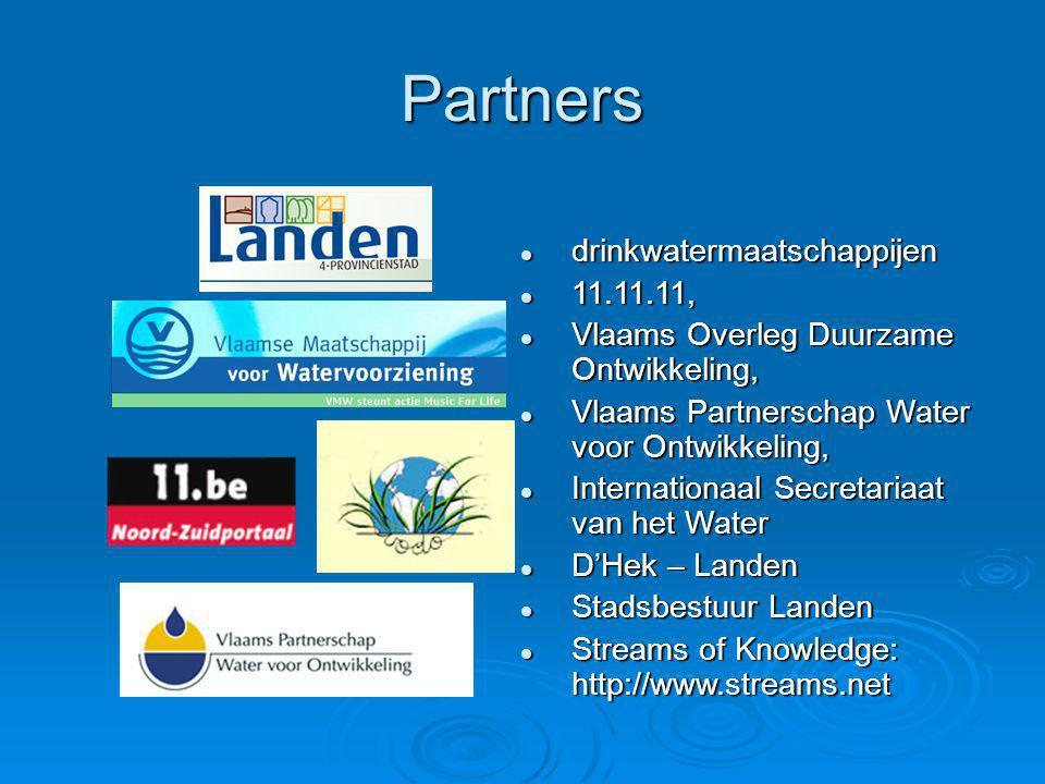 Partners  drinkwatermaatschappijen  11.11.11,  Vlaams Overleg Duurzame Ontwikkeling,  Vlaams Partnerschap Water voor Ontwikkeling,  Internationaa